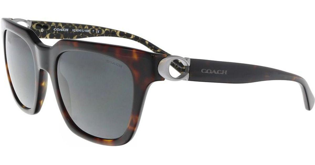 d651a439148e ... order lyst coach hc8240 550787 dark tortoise square sunglasses in brown  45970 ddcd4