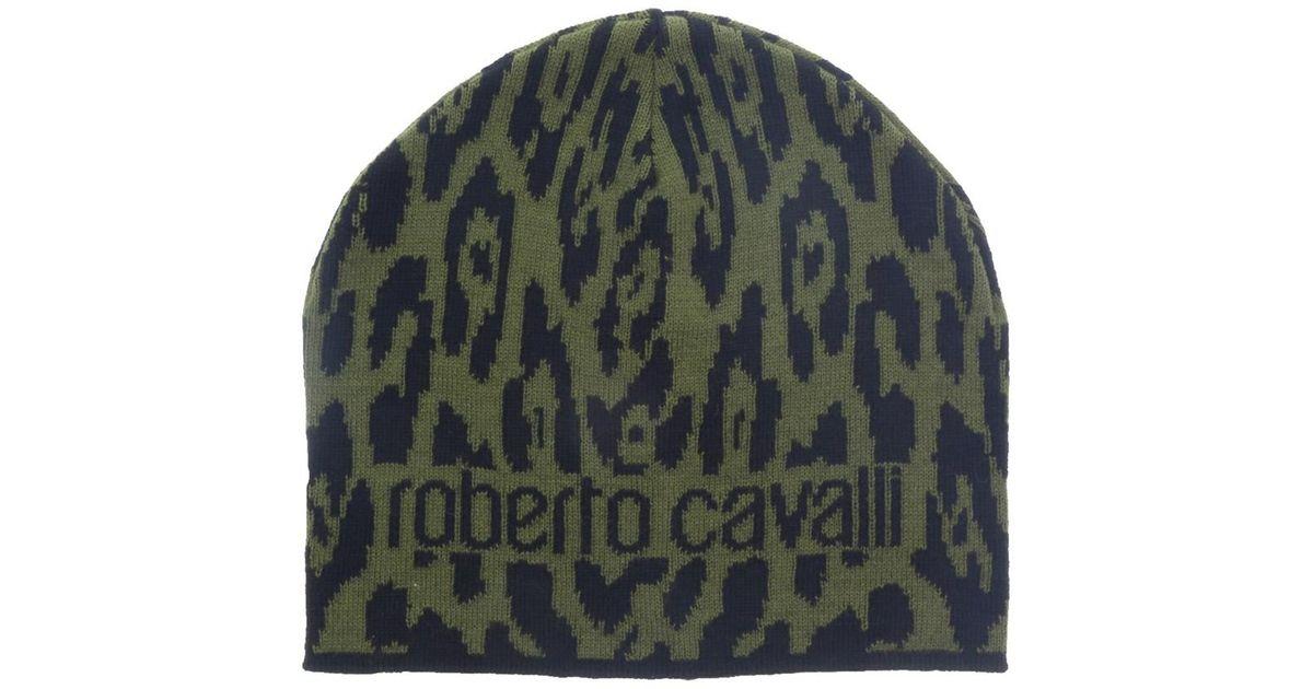 Lyst - Roberto Cavalli Esz026 D0491 Black military Green Jaguar Beanie Hat  in Green for Men 07cfcc72dc6