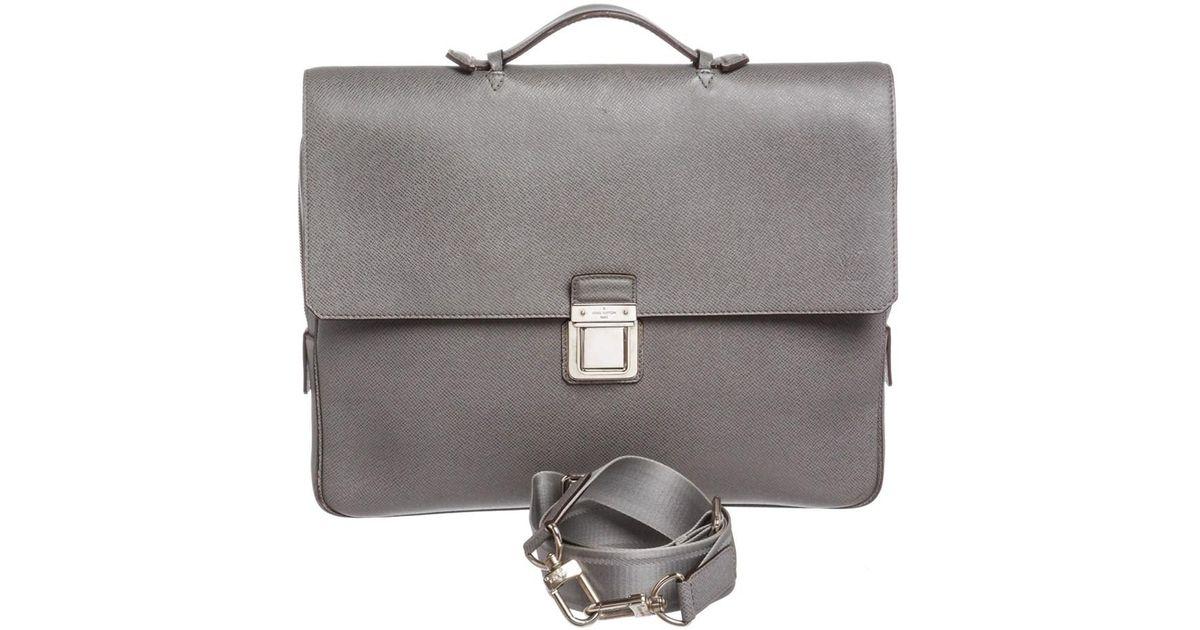 0ecf5cca665e Lyst - Louis Vuitton Grey Taiga Leather Vassili Gm Briefcase Bag in Gray  for Men