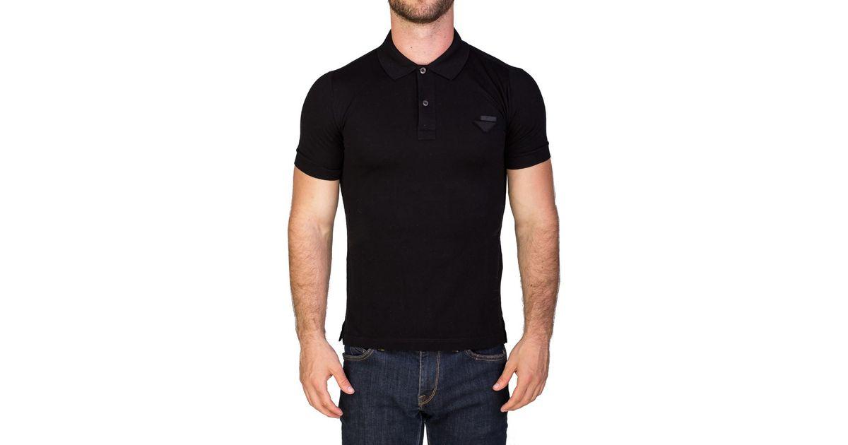 f7851c3a Lyst - Prada Men's Pique Cotton Short Sleeve Polo Shirt Black in Black for  Men