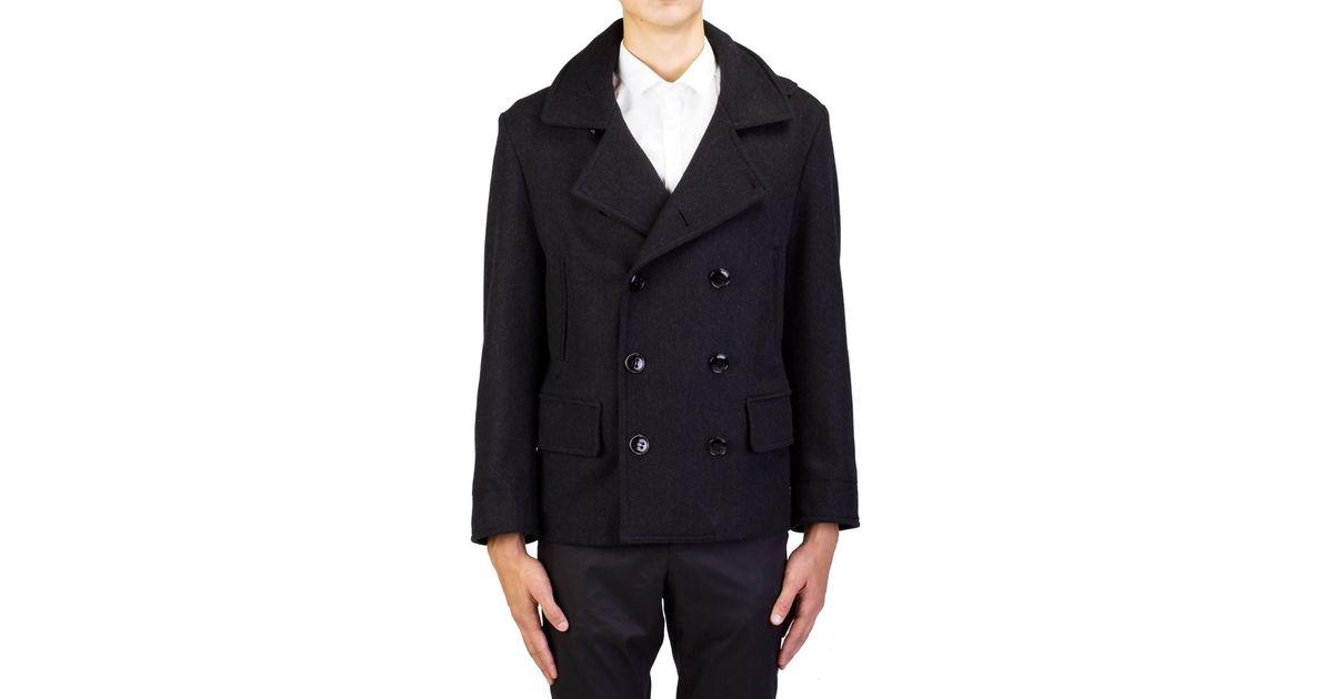 65f1c3c6f5 Saint Laurent - Yves Men's Virgin Wool Double Breasted Coat Jacket Black  for Men - Lyst