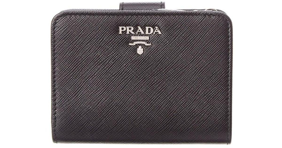 fa2fc5cdad0c Prada - Black Saffiano Leather French Wallet - Lyst
