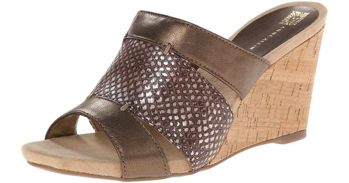 bedc0f8c998 Lyst - Anne Klein Women s Loopy Slide Wedge Sandals in Brown