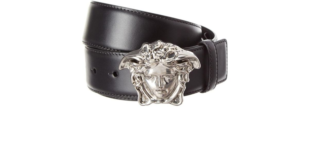 f8e2d676cfd Lyst - Versace Palazzo Medusa Buckle Leather Belt in Black for Men