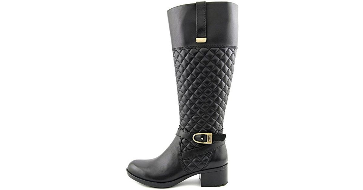 409fc9011858 Lyst - Bandolino Women s Blushe Wide Calf Quilted Leather Knee High Boot in  Black