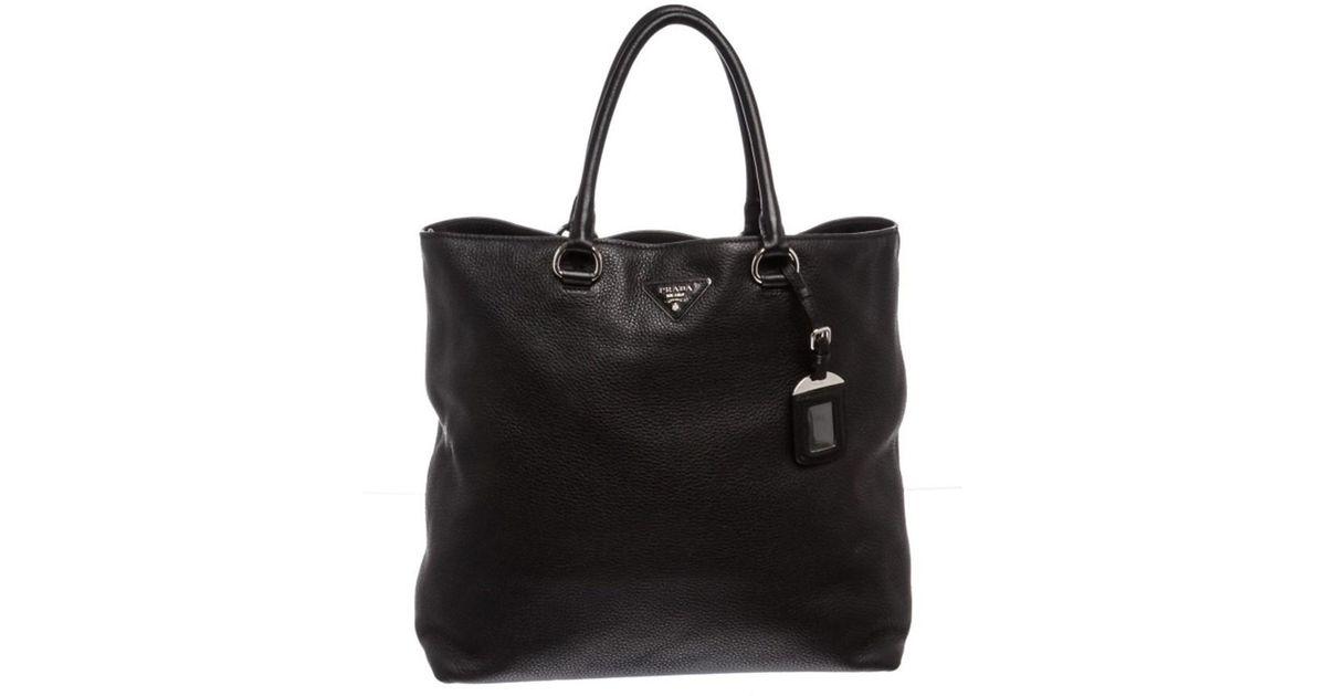c8a1cee51aef Lyst - Prada Pre Owned- Nero Black Leather Vitello Daino North-south Tote  Bag in Black