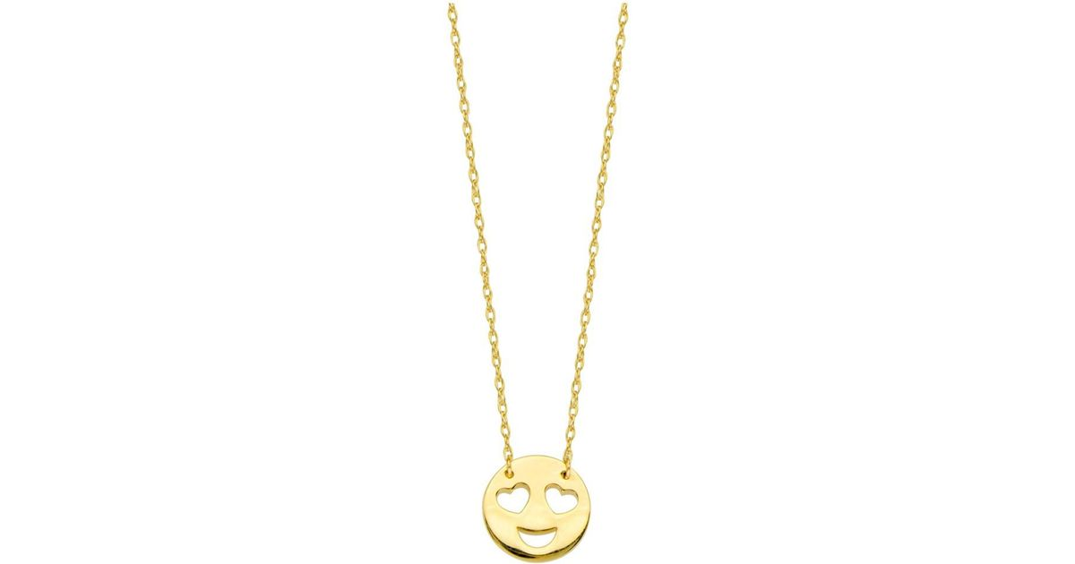 Lyst jewelryaffairs 14k yellow gold love smiley face pendant lyst jewelryaffairs 14k yellow gold love smiley face pendant necklace 16 to 18 adjustable in yellow aloadofball Choice Image