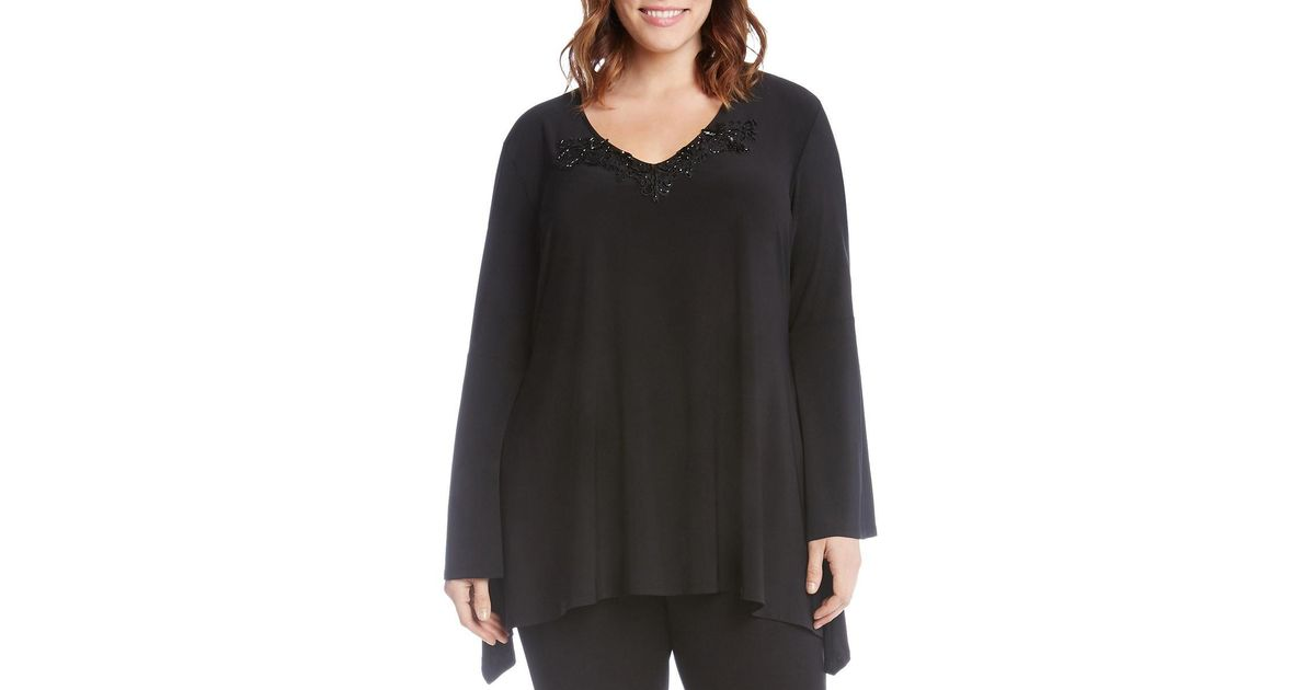 bcc42414144 Lyst - Karen Kane Womens Plus Applique Bell Sleeves Tunic Top in Black