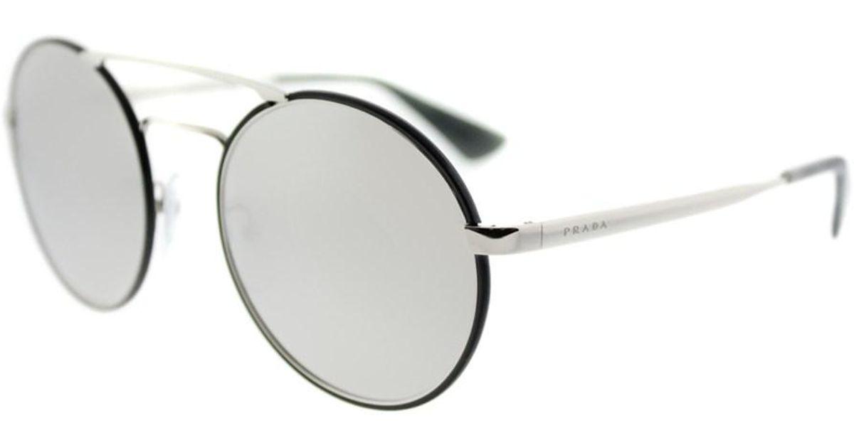 7d2210718213d ... closeout lyst prada round metal sunglasses in metallic 0b1da 63c53