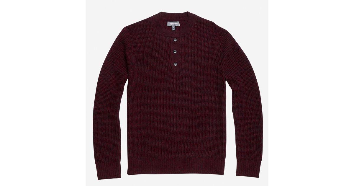 Bonobos Wool Cashmere Waffle Henley Sweater in Purple for Men | Lyst