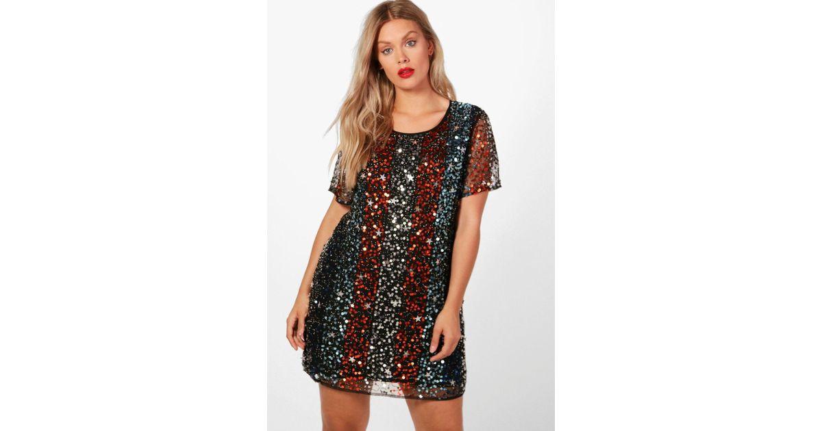 fe532666322f Boohoo Plus Star Sequin Embellished Shift Dress in Black - Lyst