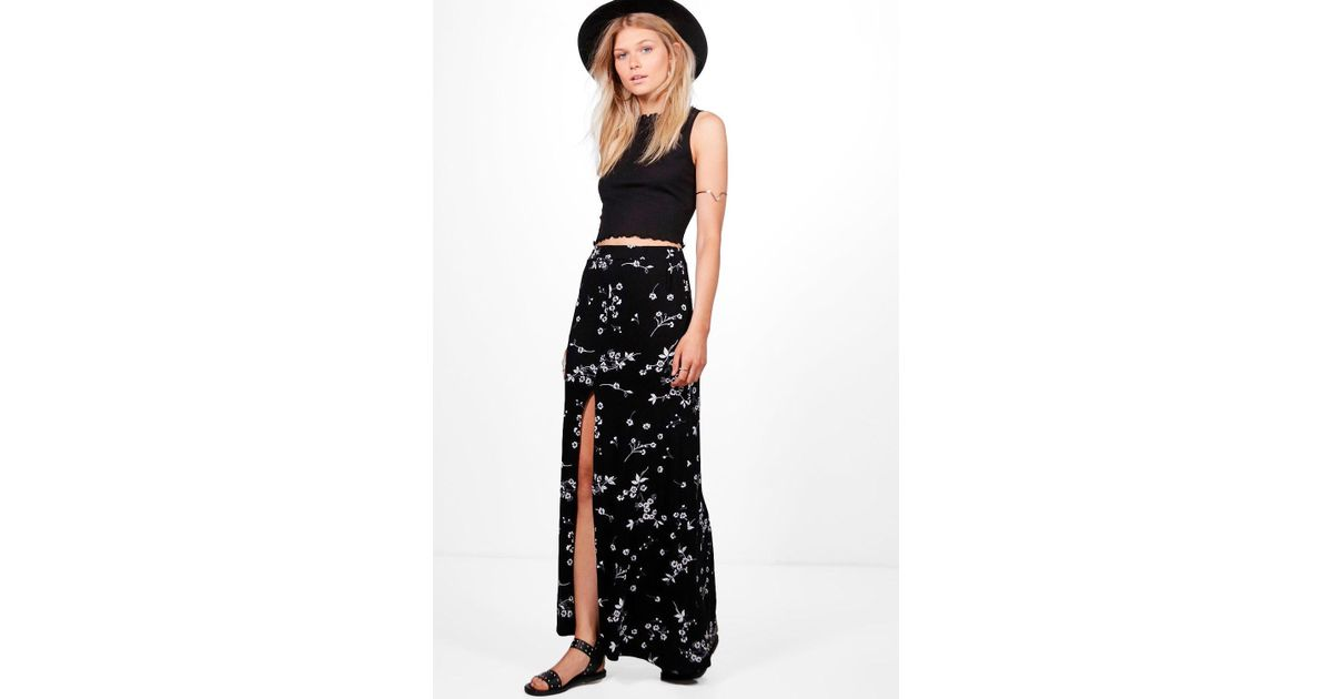 46ec2175e3 Lyst - Boohoo Petite Leanne Dark Floral Split Maxi Skirt in Black