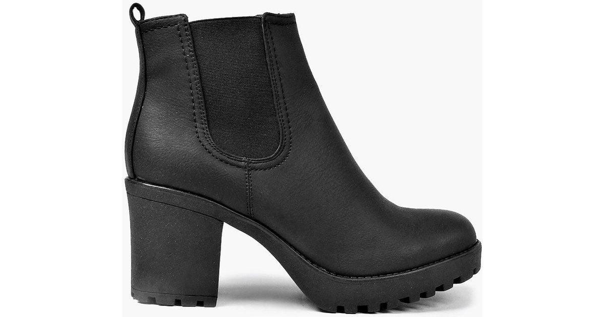 1d10ed362a84b Boohoo Tia Chunky Cleated Heel Chelsea Boot in Black - Lyst