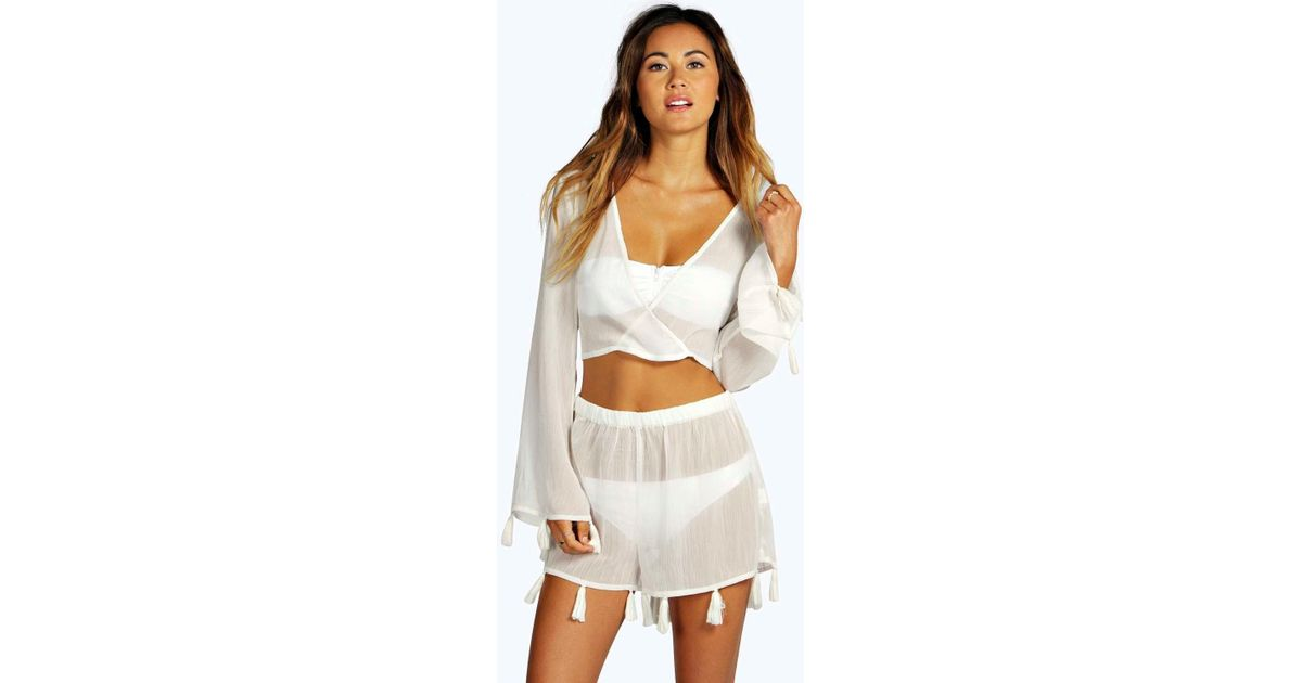 8679163be3 Boohoo Tassel Crop & Short Beach Co-ord in Natural - Lyst