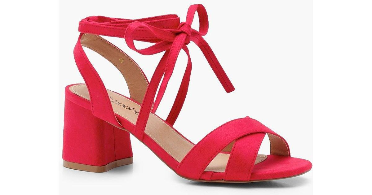 10b01e8965b Lyst - Boohoo Extra Wide Fit Cross Strap Ankle Block Heels in Red