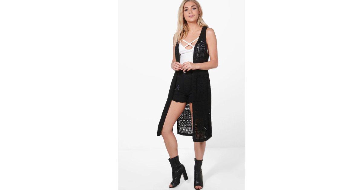 Boohoo Kaley Sleeveless Crochet Cardigan In Black Lyst