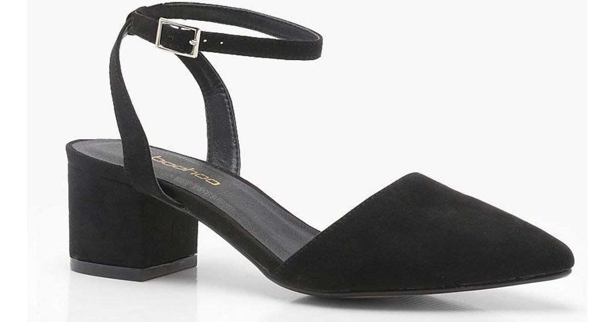 2285a4e28bc Boohoo Wide Fit Wrap Pointed Block Heel Flats in Black - Lyst