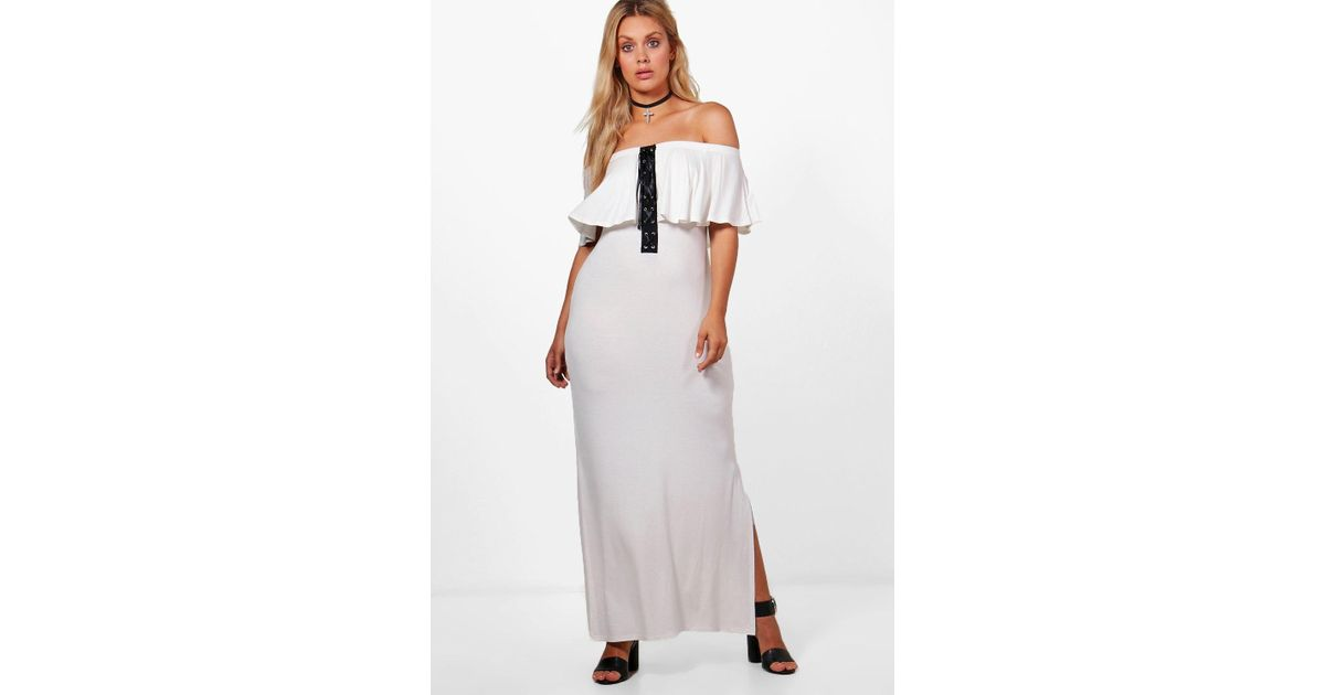 6789d21ddd50 Boohoo Plus Carla Off The Shoulder Lace Frill Maxi Dress in White - Lyst
