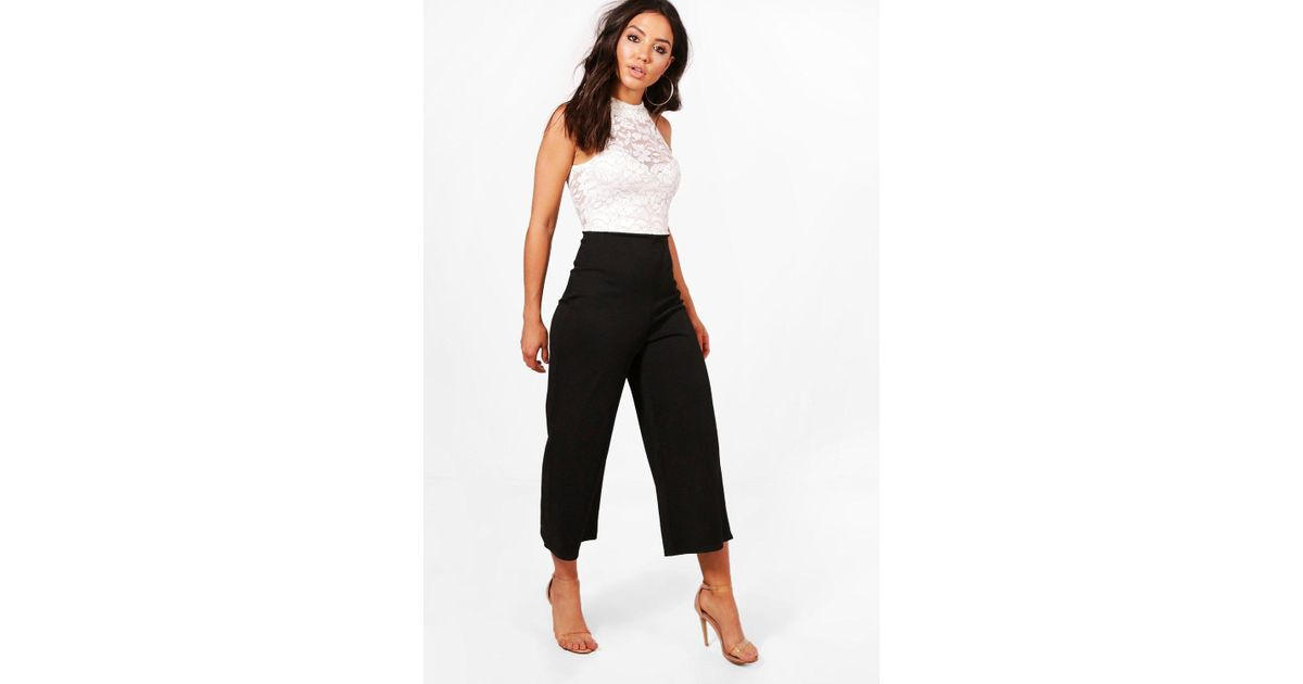 78295a4bbf4a Boohoo - Black Eliza Monochrome Lace Culotte Jumpsuit - Lyst