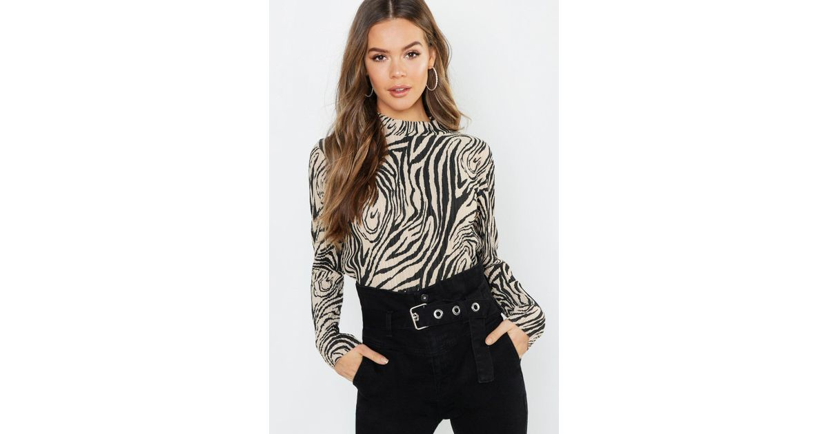 8ceef4512a069f Boohoo Zebra Plisse High Neck Top - Lyst