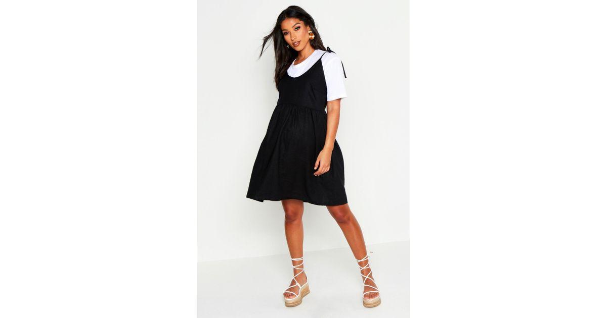 923ededb826 Boohoo Maternity Linen Tie Shoulder Smock Dress - Lyst