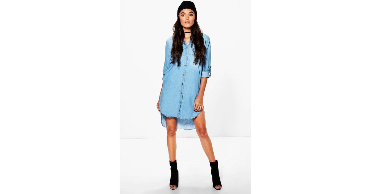 b542db75f7 Lyst - Boohoo Longline Denim Shirt Dress in Blue