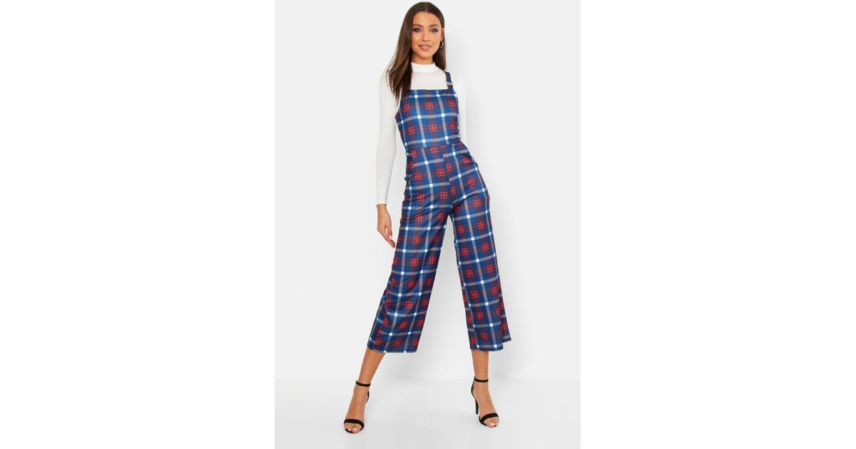 9ff8e6704d8 Boohoo Tall Check Print Pinafore Culotte Jumpsuit in Blue - Lyst
