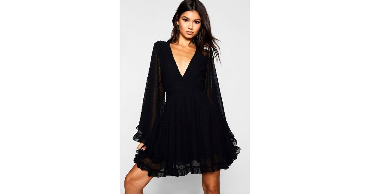 e007619d783d Boohoo Dobby Chiffon Wide Sleeve Skater Dress in Black - Lyst