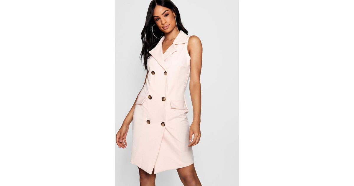 f682ac0d5b3e3 Boohoo Tall Frida Sleeveless Military Blazer Dress in Pink - Lyst