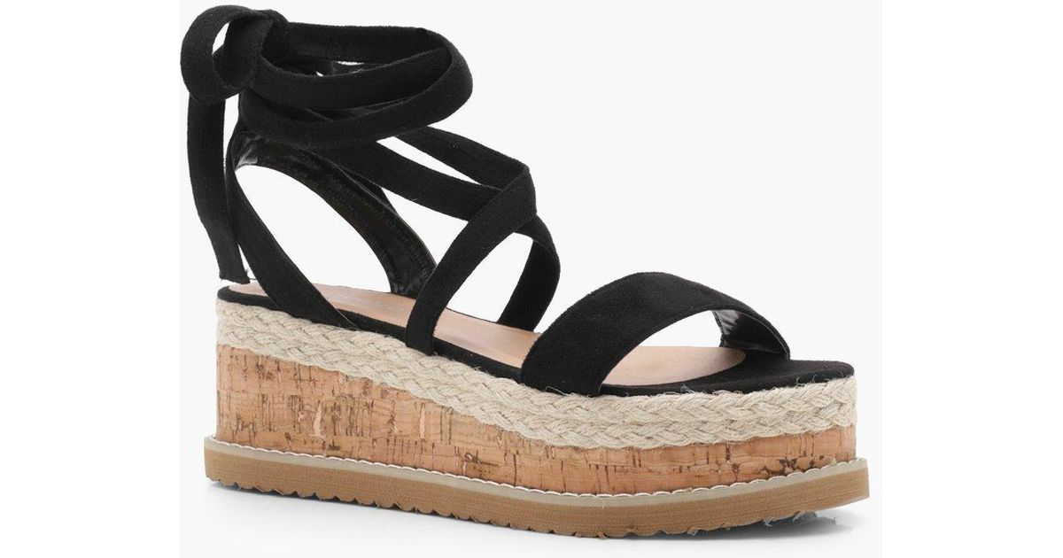 5ae82bd006b Lyst - Boohoo Flatform Espadrille Tie Up Sandals in Black