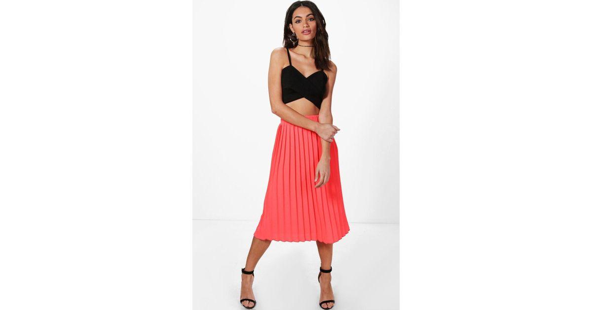 Neave Textured Crepe Pleated Midi Skirt