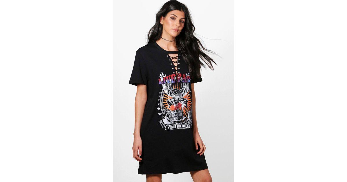 0220f3d6fd0 Lyst - Boohoo Freya Lace Up Choker Band T-shirt Dress in Black