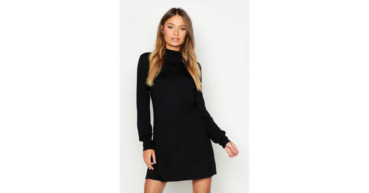 65f64bb8ca1df Boohoo Balloon Sleeve Roll Neck T-shirt Dress in Black - Lyst