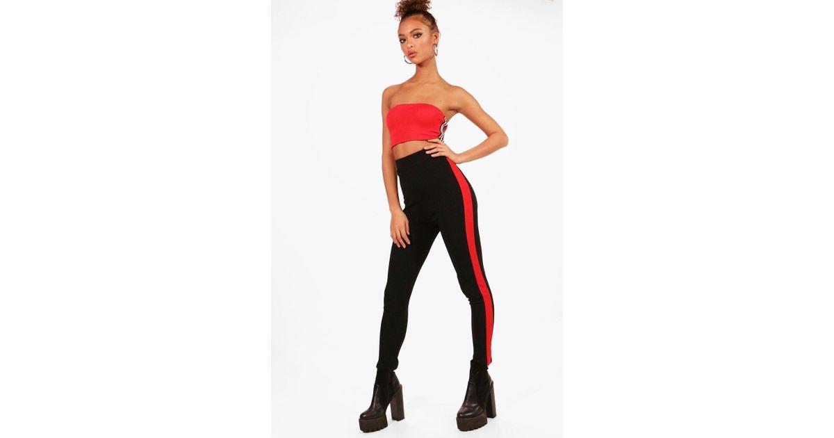0ed499ac86a0f Lyst - Boohoo Contrast Side Stripe Crepe Leggings in Black