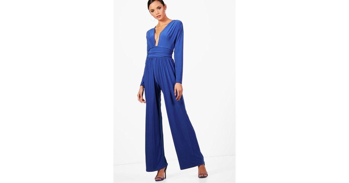 78b1c1cbf3c Lyst - Boohoo Tall Plunge Slinky Wide Leg Jumpsuit in Blue