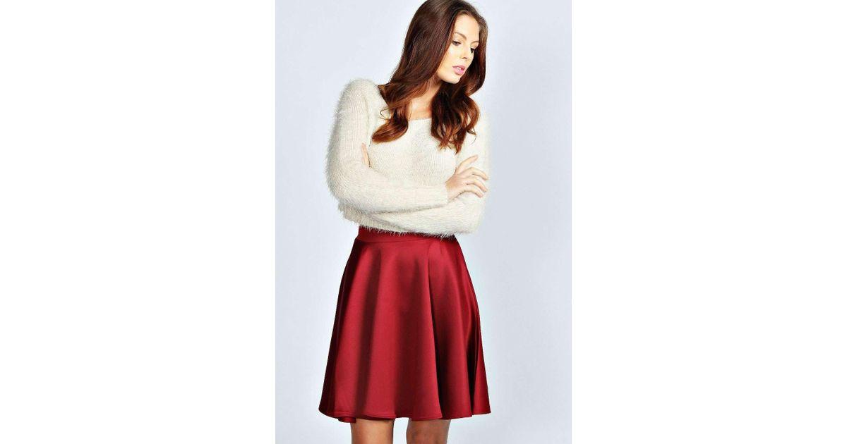 71f072109 Boohoo Jess Basic Scuba Skater Skirt in Red - Lyst