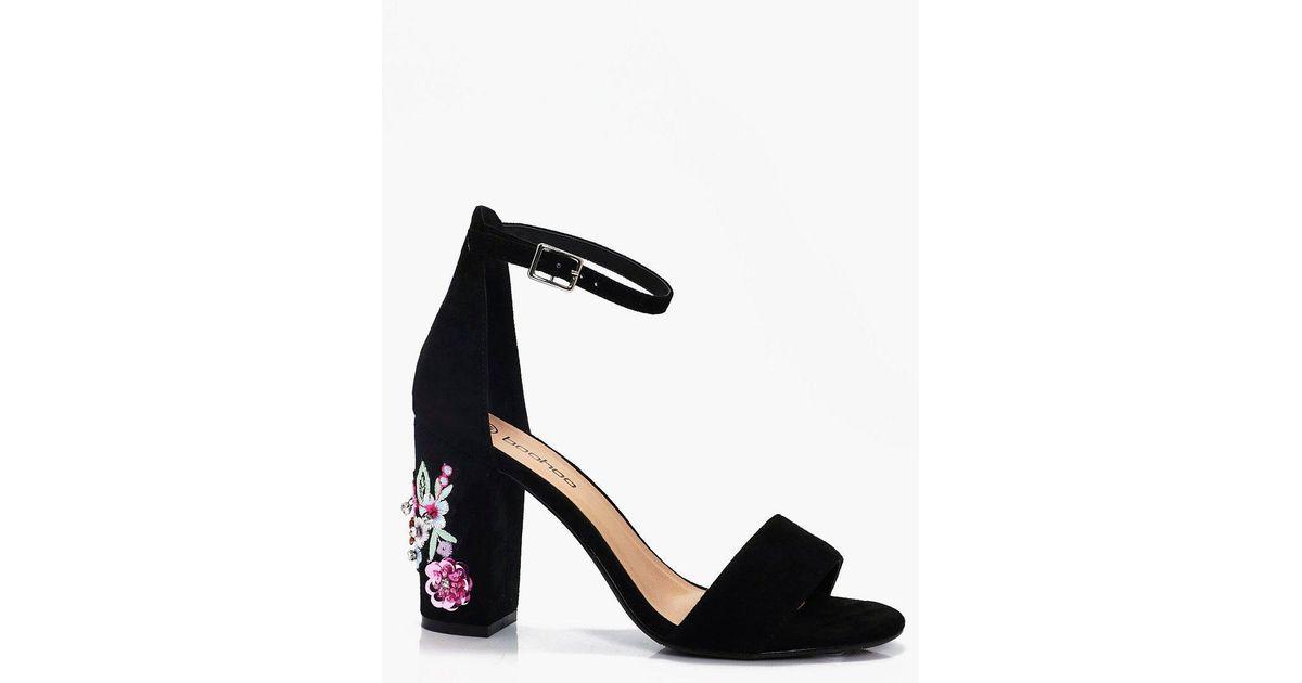 e307ac49cfcc Lyst - Boohoo Grace Embellished Block Heel 2 Parts in Black