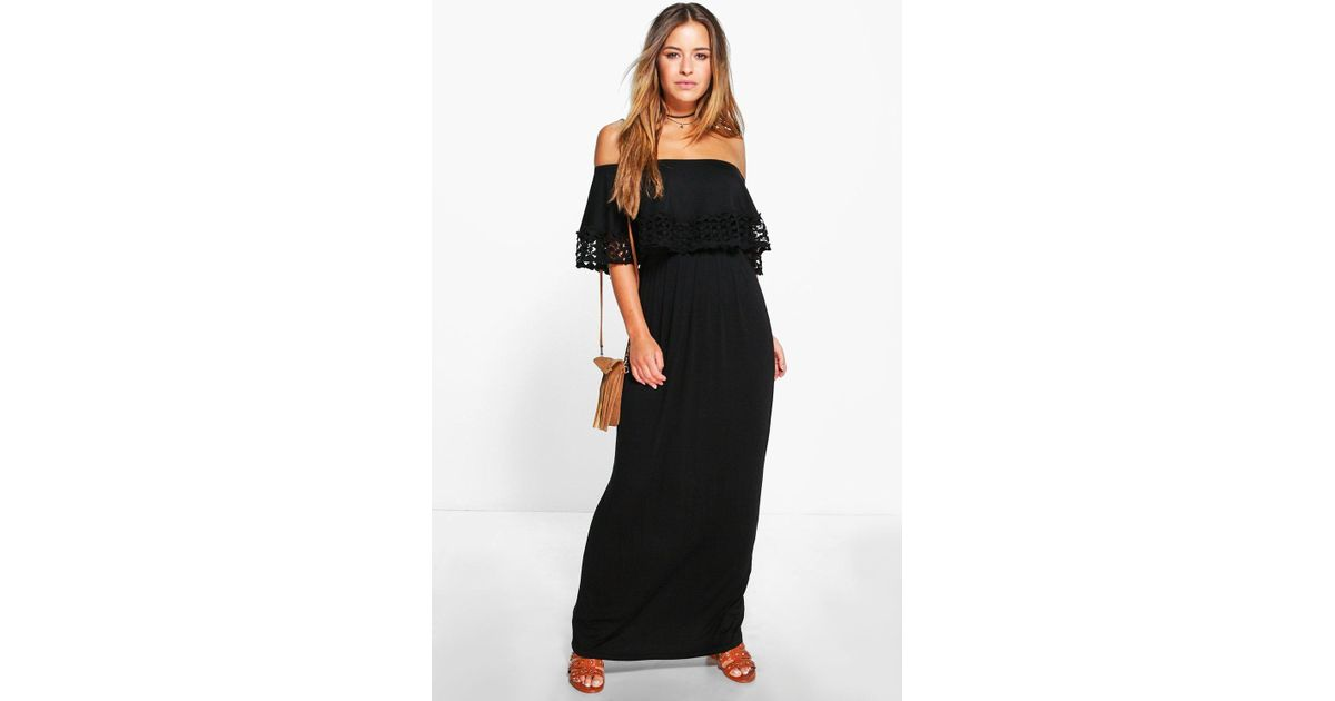 5601d979a101a Boohoo Petite Bardot Trim Detail Maxi Dress in Black - Lyst