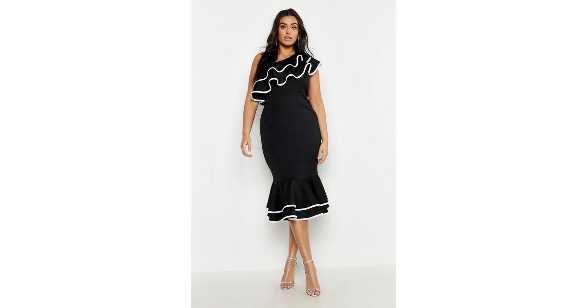 Boohoo Plus One Shoulder Contrast Ruffle Midi Dress In