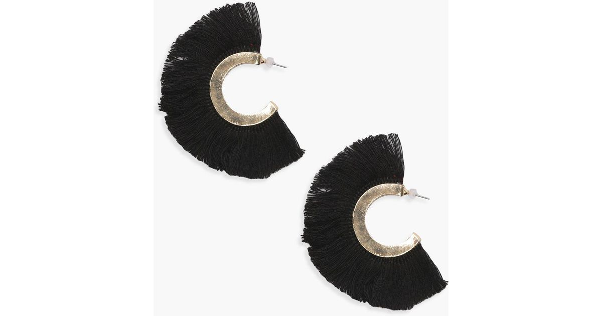 51f4e56e39b Lyst - Boohoo Yasmin Fringed Tassel Hoop Earrings in Black