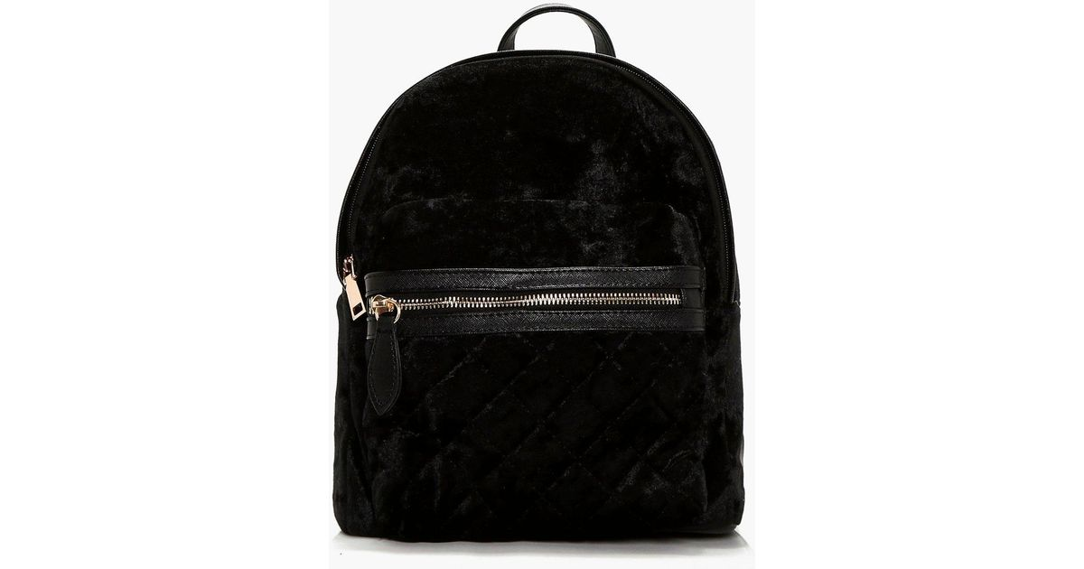 Boohoo Sarah Crushed Velvet Quilted Rucksack in Black | Lyst : black quilted rucksack - Adamdwight.com