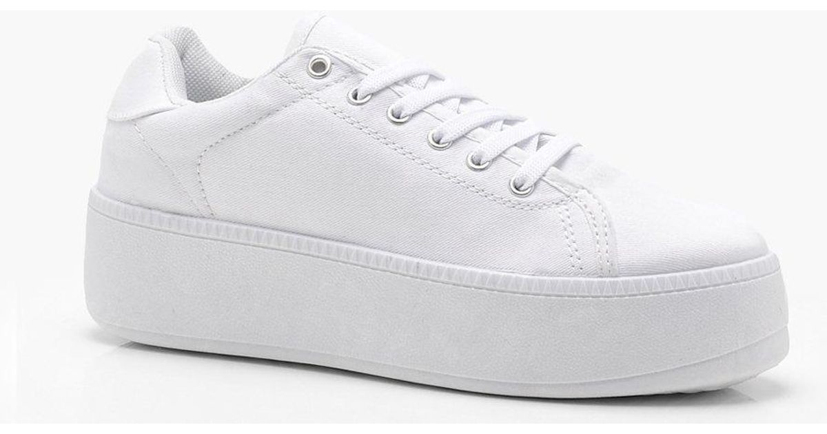6001b782f7b Boohoo Lace Up Platform Sneakers in White - Lyst