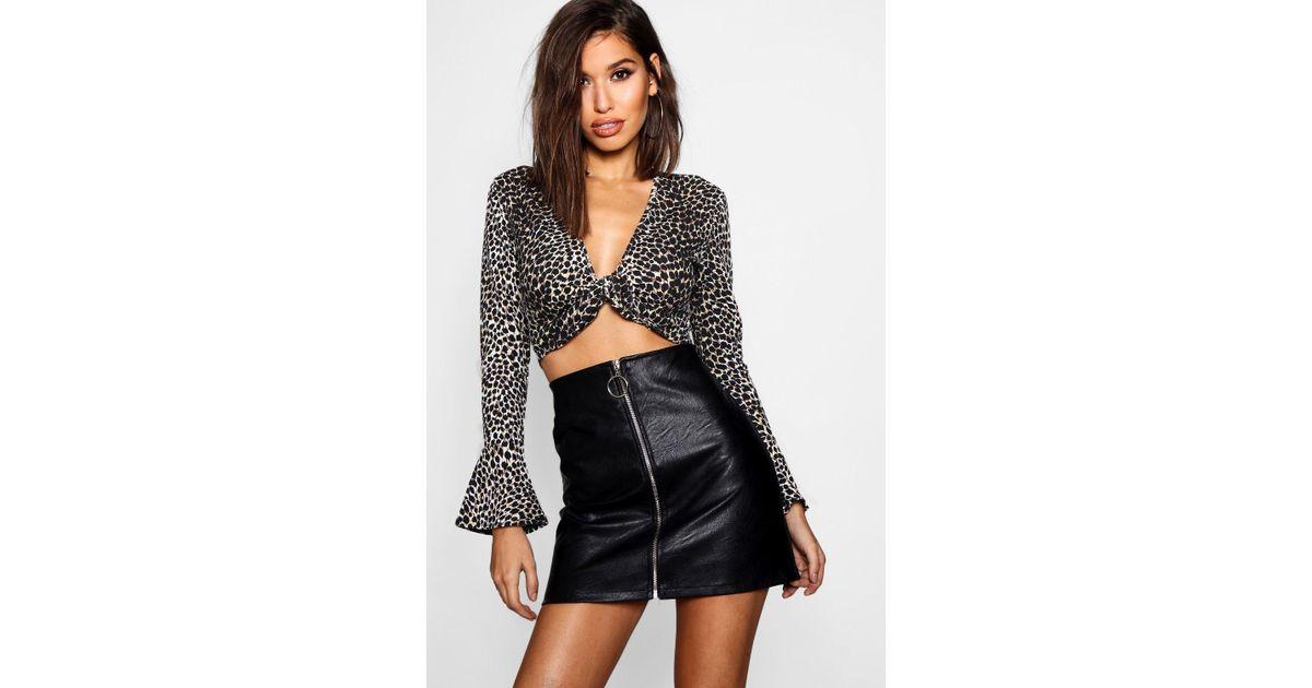 4a4c2d6bdb Boohoo O Ring Zip Through Pu Mini Skirt in Black - Lyst