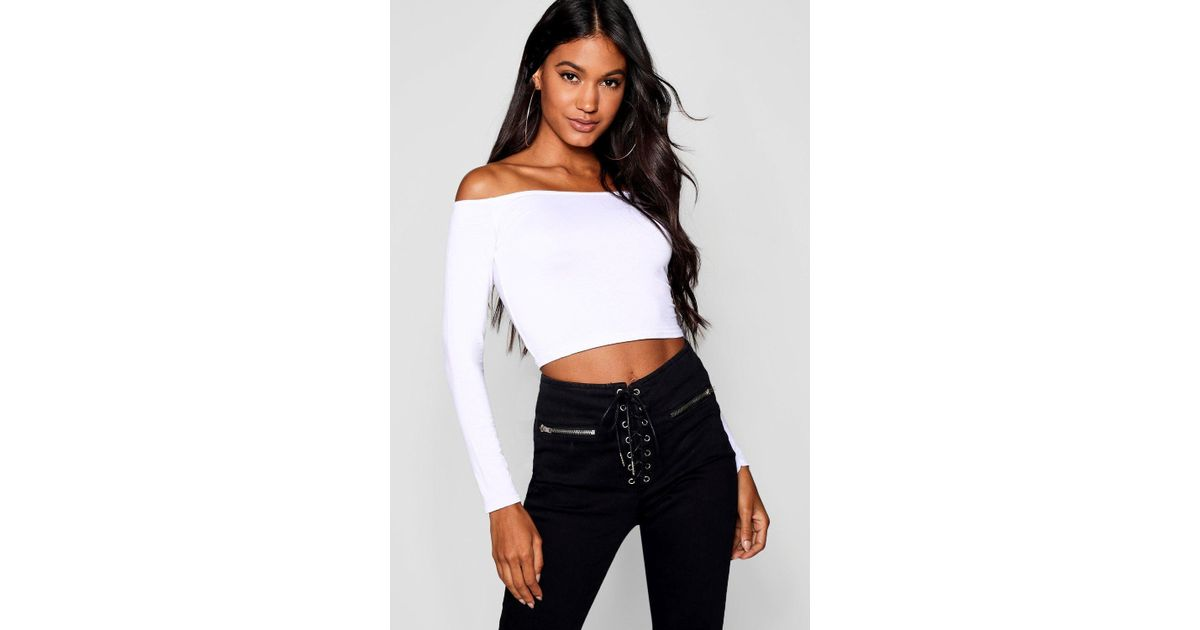 6fb4a5a2a53ce5 Boohoo Basic Long Sleeve Bardot Crop Top in White - Lyst