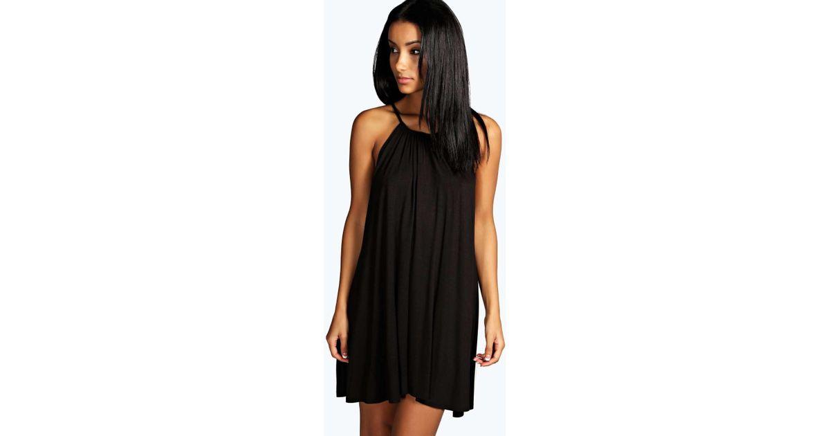 f83f2ca03c9c Boohoo Tie Neck Swing Dress in Black - Lyst