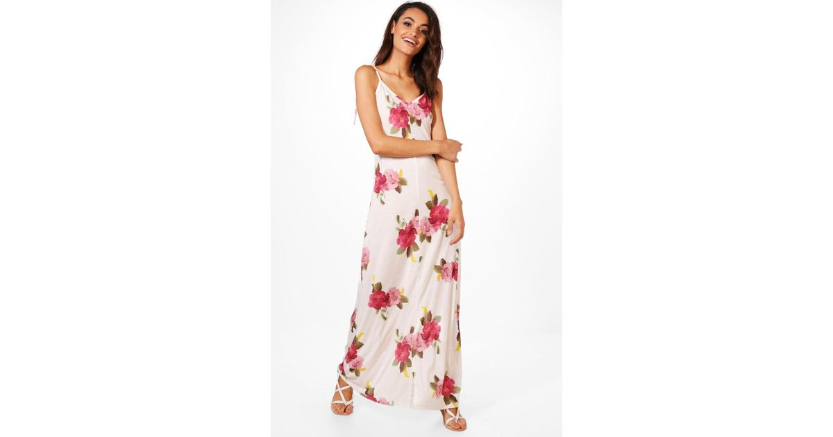 1a0162cd1dc Lyst - Boohoo Tie Strap Floral Maxi Dress in White
