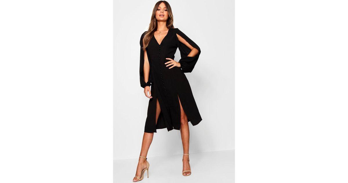 9cd1ef9523f3 Lyst - Boohoo Anissa Split Sleeve Button Through Midi Dress in Black