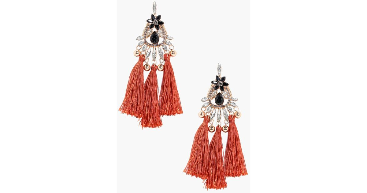 084625820ad Boohoo Tia Flower Gem And Diamante Tassel Earring in Red - Lyst