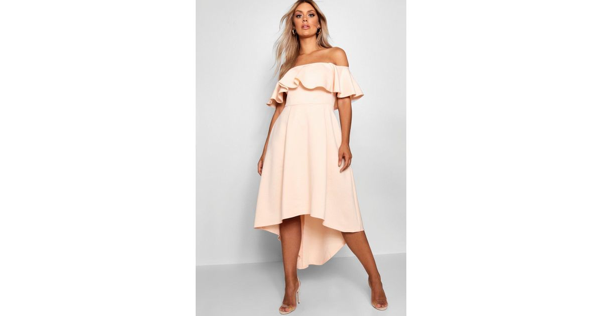 8dfd87502f56 Boohoo Plus Liz Off Shoulder Dropped Hem Midaxi Dress in Natural - Lyst