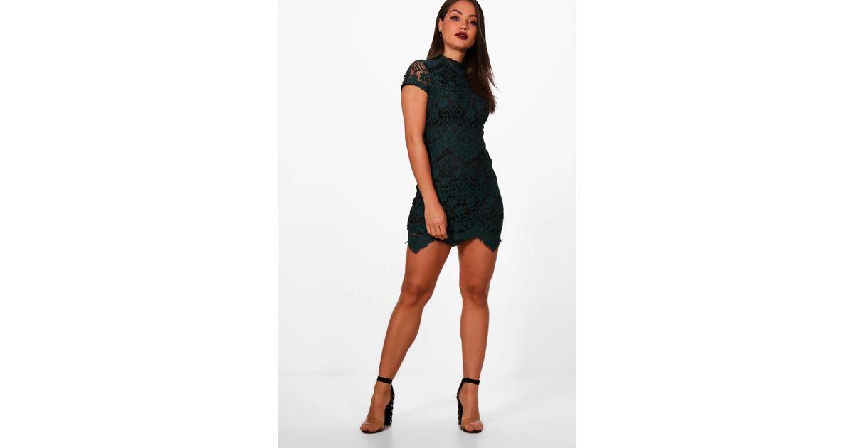 Boohoo Boutique Eyelash Lace Bodycon Dress - Lyst 258f804e2